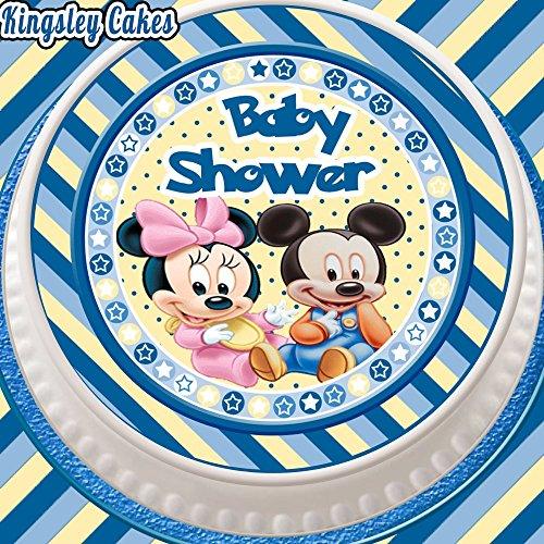 barer Zuckerguss Kuchen Aufsatz, 7,5 cm rund blau Baby Mickey und Minnie Baby Dusche (Mickey Baby-dusche)