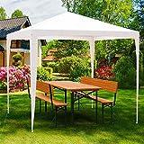 Deuba Pavillon 3x3m | 9m² wasserabweisend Stecksystem UV-Schutz 50+ | Festzelt Partyzelt Gartenzelt Festival weiß