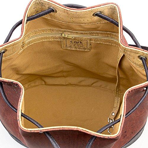 CORKOR Veganer Umhängetasche Damen Geldbeutel Schultertaschen Handtasche Natur-Leder Natur - Bucket Bag - Beuteltasche aus Veganem Leder Rot