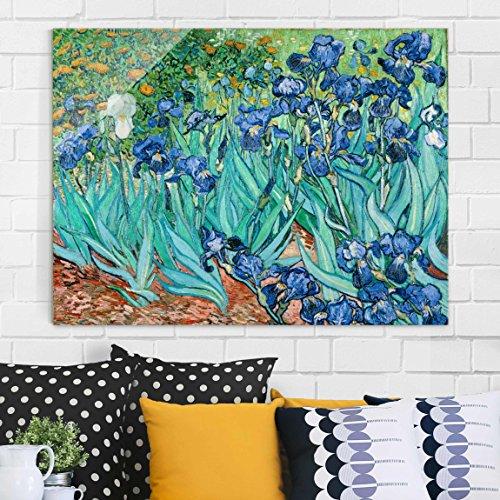 Bilderwelten Glasbild - Kunstdruck Vincent van Gogh - Iris - Post-Impressionismus Quer 3:4, Wandbild Glas Bild Druck auf Glas Glasdruck, Größe HxB: 60cm x 80cm