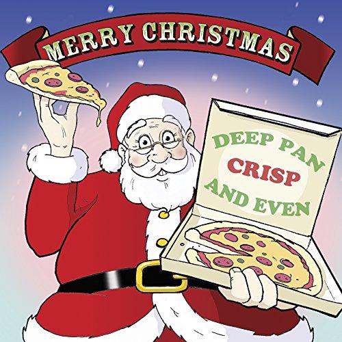 Immagini Di Natale Con Babbo Natale.Twizler Biglietto Di Auguri Di Natale Con Babbo Natale E Pizza Scritta In Lingue Italiana Non Garantita