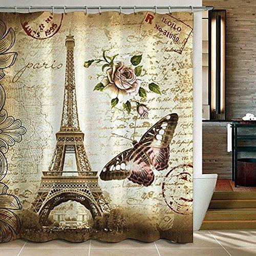 Duschvorhang Anti-Schimmel & Anti-Bakteriell 180 x 180 cm + 12 Haken mit 3D Eiffelturm Motiv thumbnail