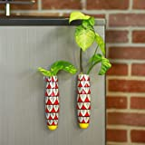Lazy Gardener Magnetic Hydroponic Ceramic Handmade Planter- Red and Yellow (Pack of 2)