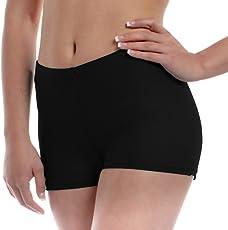 The Blazze Women's Seamless Spandex Boyshort Underskirt Pant Short Leggings (Large, Black)