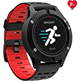 N NEWKOIN Smart Watches GPS Sportuhr Fitness Tracker Kompatibel iOS Android (Schwarz Rot)