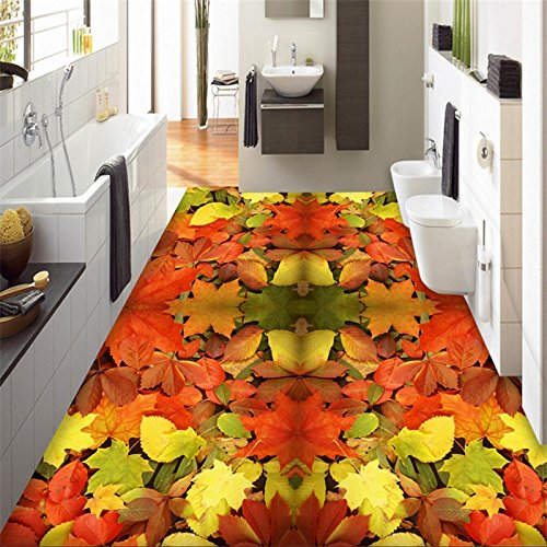 Yuxua 3D Tapete Hintergrundbild Walllpaper 3D-Bodenbeläge Entwicklung Jeder Größe Maple Leaf Wohnzimmer Badezimmer Fliesen 3D Wandmalerei Fresko mural 400cmX300cm -