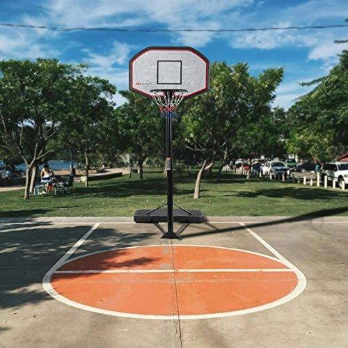 Blitzzauber24 Basketballständer Basketballkorb Set höhenverstellbar Basketballnetz Outdoor Indoor Höhenverstellbar von 205 bis 305cm mit Ständer