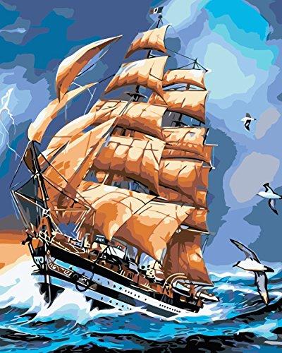 obella Malen nach Zahlen Kits || Lightning Schiff Segelboot Möwen 50x 40cm || Malen nach Zahlen, DIGITAL Ölgemälde, Frameless 3d Fire Truck Spielzeug