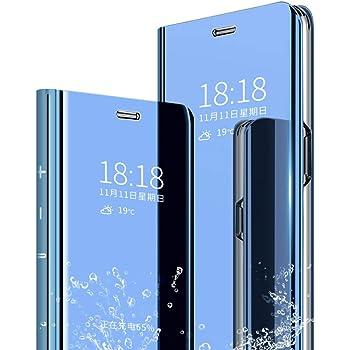 DAYNEW Cover per Huawei P Smart (2019),Ultra-Sottile Specchio Tecnologia di Elettroplaccatura Bookstyle con Funzione Kickstand Flip Cover per Huawei P Smart (2019)-Blu