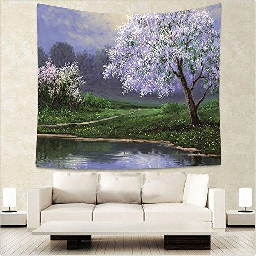Tapestry, hippie tapestry, wall hanging decorativo, copriletto matrimoniale,psichedelico,paesaggio dei fiori di ciliegio, 150x130cm