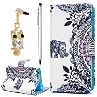 Sony Xperia XZ1 Compact Case, YOKIRIN PU Leather Magnetic Adsorption Folio Inner Soft TPU Case with Card Slots Stand Flip Wallet Case Cover for Sony Xperia XZ1 Compact, Elephant