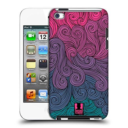 Head case designs rosa intenso e celeste girandole vivide cover dura per parte posteriore compatibile con apple ipod touch 4g 4th gen