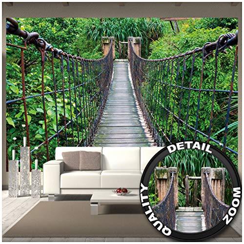 Great Art Fototapete - Hängebrücke - Wandbild Dekoration Dschungel Landschaft Natur Adventure Brücke Regenwald Busch Tropen Urwald Holzbrücke Wandtapete Fotoposter Wanddeko(336 x 238 cm)