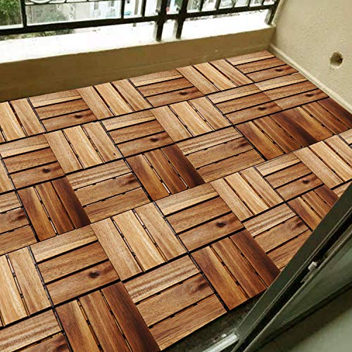 Longyuan Klick Fliesen Fur Garten Terrasse Balkon 11er Set Fur 1 M Garten Fliese Bodenbelag Mit Drainage 30 X 30 Cm Akazien Holz Holzfliesen