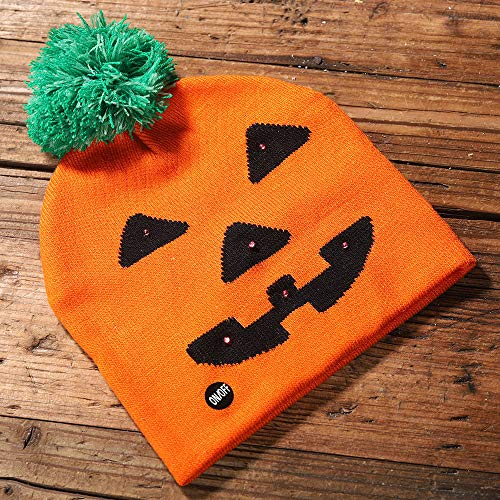 Kind Perücke Ghost Kostüm - bloatboy Shiny Knit Hat - Halloween Kinder Adult Hat Party Kürbis Ghost Mit Light Cap Hat Kopfbedeckung (A)