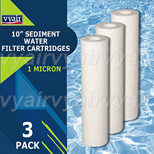 3x Vyair RO 25,4cm PP 1Micron Melt Blown Partikeln/Sediment/Umkehrosmose Wasserfilter Kartusche zu entfernen Sand, Silt, Schmutz und Rost Partikel (Rost Patrone Schmutz Sediment)