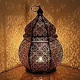 albena shop 71-4956 Teja orientalische Laterne Windlicht 34cm (schwarz/innen Gold)