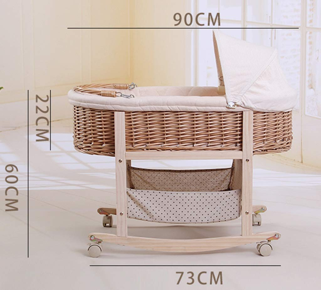 It Can Move Baby Cot, Multifunction Portable Cradle Portable Car Load Baby Travel Bed, 60 * 90CM (Size : 90 * 60CM) Zhao ♥ Product Name: Removable Baby Crib// Size: 60*90CM//Material: Wood; ♥Characteristics: Sturdy detachable beam, can be pushed and pushed double mode, mosquito net and sunshade, lower storage pocket, high quality colored cotton comfortable mattress, soft and smooth, giving baby comfort and enjoyment; ♥Bionic uterus design, give your baby enough safety, let the baby sleep sweetly; 2