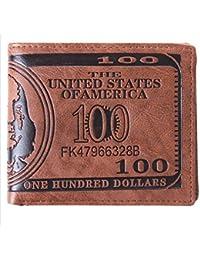 Portefeuille en cuir marron avec rabat et motif dollar