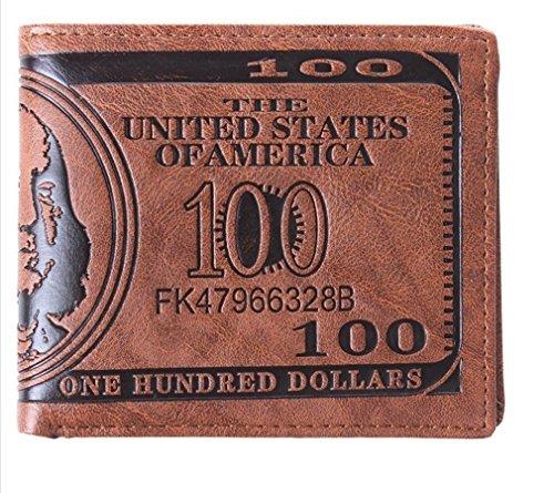 Dollaro Fattura Soldi Pelle Bifold Portafoglio Carta Di Credito Divertente Coin Purse Tasche Per La Mens (profondità marrone)