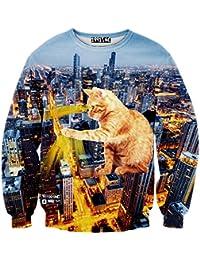 Pizoff Unisex Hip Hop Sweatshirts mit 3D Digital Print 3D Muster