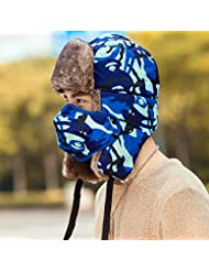 Global- Creativa del sombrero del invierno, a prueba de viento proteger el oído de cuello Protección del espesamiento masculino de poliéster sombrero ( Color : Azul )