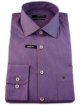 Seidensticker Herren Langarm Hemd Splendesto Regular Fit braun / blau strukturiert 188380.25