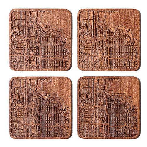 Untersetzer mit Stadtkarte, jede Kombination aus mehreren Städten, optional, Sapeli-Holzuntersetzer mit Stadtkarte Salt Lake City braun
