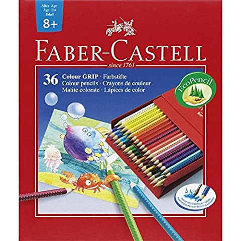 Faber-Castell 112436 Crayons de couleur Colour GRIP, studio box de 36