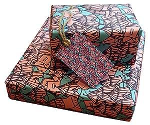 re-wrapped–1fogli con 2cartellini corrispondenza di eco friendly riciclata carta da regalo di compleanno–rosa e viola tende da incastro Emily Chapman