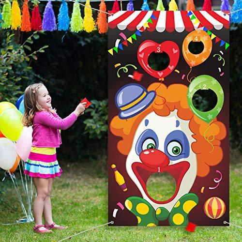 Karneval Toss Spiele mit 3 Bohne Tasche, Lustiges Karneval Spiel für Kinder und Erwachsene in Karneval Party Aktivitäten, Tolle Karneval Dekorationen und Lieferanten (Clown)