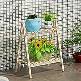 Cristina Pao Brown-Fester Hölzerner Blumen-Stand und Mehr Fleisch-Balkon-Einfache Regale Innenwohnzimmer-mehrschichtiger faltender Blumen-Topf-Zahnstange (Farbe : 1#)