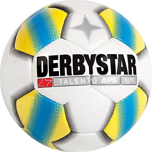 11 Fußball-rasen-schuhe-größe (Derbystar Fußball Talento APS light, Kinder Spielball, Ball Größe 4 (350 g), weiß gelb blau, 1108)