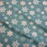 Stoff Meterware Baumwolle petrol weiß silber Eiskristall