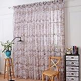 Clode® 100x270cm Zeitungs-Druck Tüll Tür Fenster Vorhang transparenter Schal Volants (Grau)