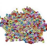 Misto 500PCS 6 millimetri acrilico borda lettere di plastica distanziatore bordano Alphabet cubo colorato per i braccialetti di DIY Collane Catene (Multi nero)