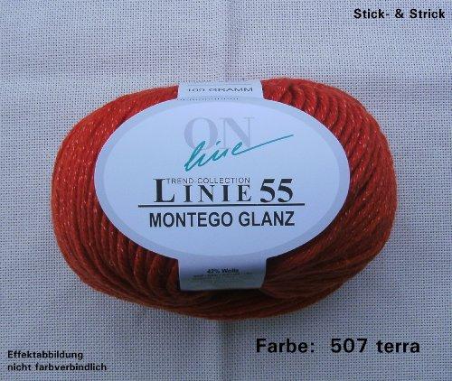 100Gr. Montego glanz FB. 507tipo di terra, in lana merino, Linea 55, nuovo di zecca, Online, autunno/inverno 2013/14