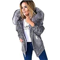 Giacca Di Jeans Calda Da donna- Collo Di Pelliccia Cappotto Di Jeans Autunnale Addensato, Lavorazione A Tinta Unita…