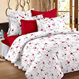 Story@Home 100% Cotton Floral Print Trendy Premium Double Bedsheets with 2 Pillow Covers, Pink