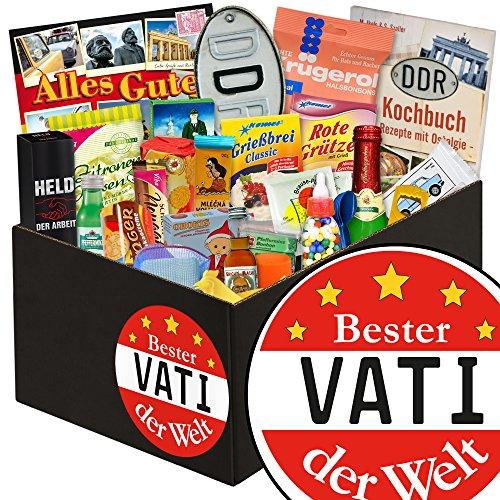 Beste Vati der Welt | DDR Geschenk Set 24er | in schwarzer Geschenkverpackung | mit Trabi Puffreis, Zitronenkissen Viba und mehr | INKL. Bester Vati der Welt - Aufkleber