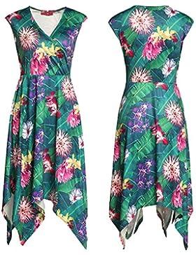 E Vestidos Ropa para mujeres sexy Cruz Collar Irregular Falda esmoquin impreso
