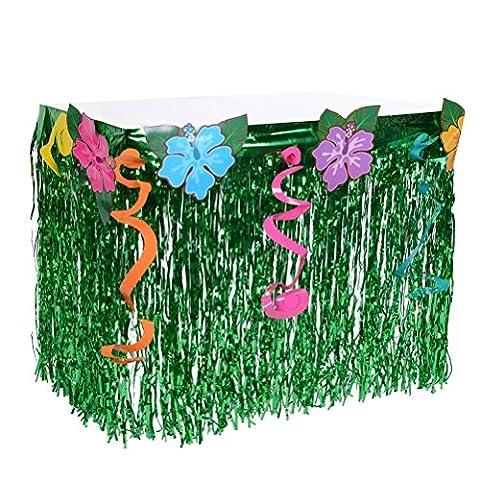 Hawaii Luau Tischröcke 9ft Gras Tischröcke mit Hibiscus Blumen BBQ Tropischer Garten Strand Sommer für Party Dekorationen,Geburtstage, Feier Rock Grün