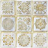 Ai-life 9Verschiedene Blumen Muster Quadratische Form Bullet Tagebuch Schablone Kunststoff Planer Malen Tagebuch/Notizbuch/Diary/Scrapbook DIY Schablonen Zeichnen Craft Schablone, 15x 15cm