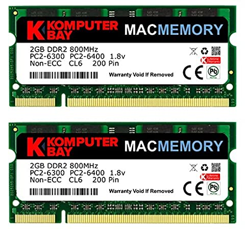 MÉMOIRE Komputerbay MAC Kit d'Apple 4 Go (Modules 2x2GB) PC2-6300 800MHz DDR2 SODIMM iMac et Macbook