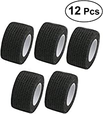 SUPVOX 12 Rolls Adhesive Cohesive Bandages Flexible Tape Adherent Wrap Tape (Black)