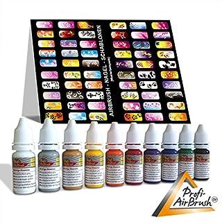 10er Set AIRBRUSH FARBEN für AIRBRUSH NAILDESIGN - Airbrushfarbe für die Nägel, bedingt auch geeignet für Airbrush Tattoo, Airbrush im Modellbau - AIRBRUSH FARBEN- UND SCHABLONEN-SET - FARBEN WASSERVERDÜNNBAR - inkl. 6x13 Schablonen mit hübschen Motiven für kreatives Nageldesign