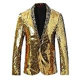 Allthemen Herren Blitzende Smokingjacke Sakkos Anzugjacke Gold&Silber Medium