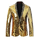 Allthemen Herren Blitzende Smokingjacke Sakkos Anzugjacke Gold&Silber X-Large