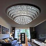 Wenrun Lighting Wohnzimmer LED 3 Helligkeit Klarer K9 Kristall Chrom Spiegel Edelstahl Runde Deckenleuchten Deckenlampe Hängelampe Lüster Leuchte Lampe Licht Mit LED Glühbirne und Fernbedienung