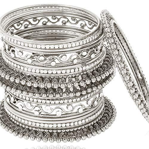 Shining Diva Fashion Latest Antique Design Traditional Bangle for Women (Oxidised Silver) (10418b_2.6)